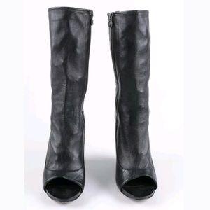 the latest 917d3 64fed Leon Max Shoes - LEON MAX° Leather Ellis Peep Toe Wedge Boots 9.5M